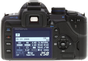 Olympus' E-520 digital SLR. Copyright © 2008, Imaging Resource. All rights reserved. Click for a bigger picture!