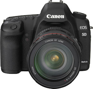Canon's EOS-5D Mark II digital SLR. Courtesy of Canon, with modifications by Michael R. Tomkins. Click for a bigger picture!