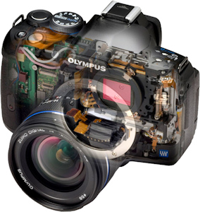 Olympus' E-620 digital SLR, cutaway view. Photo provided by Olympus Imaging America Inc. Click for a bigger picture!