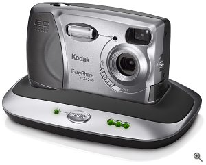 Kodak's EasyShare CX4200 digital camera, shown in the optional camera dock. Courtesy of Eastman Kodak CO., with modifications by Michael R. Tomkins.