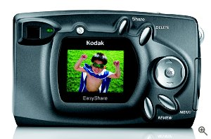 Kodak's EasyShare CX4300 digital camera. Courtesy of Eastman Kodak Co., with modifications by Michael R. Tomkins. Click for a bigger picture!