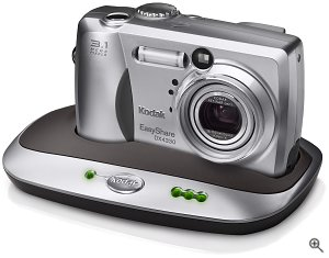 Kodak's EasyShare DX4330 digital camera, shown in the optional camera dock. Courtesy of Eastman Kodak CO., with modifications by Michael R. Tomkins.