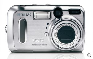 Kodak's EasyShare DX6340 digital camera. Courtesy of Eastman Kodak Co., with modifications by Michael R. Tomkins. Click for a bigger picture!