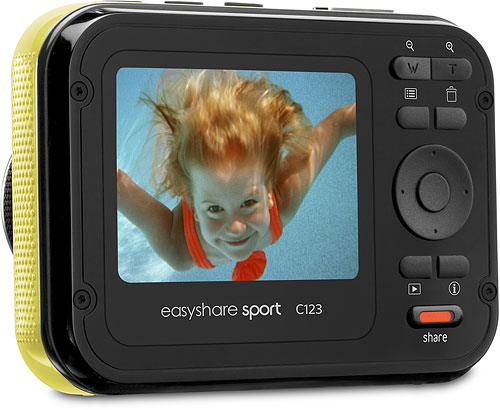 Kodak's EasyShare Sport C123 digital camera. Rendering provided by Eastman Kodak Co. Click fora bigger picture!