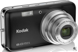 Kodak's EasyShare V803 digital camera. Courtesy of Kodak, with modifications by Michael R. Tomkins. Click for a bigger picture!