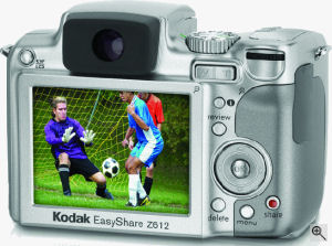 Kodak's EasyShare Z612 digital camera. Courtesy of Kodak, with modifications by Michael R. Tomkins. Click for a bigger picture!