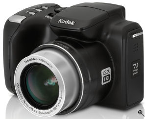 Kodak's EasyShare Z712 IS digital camera. Courtesy of Kodak, with modifications by Michael R. Tomkins. Click for a bigger picture!