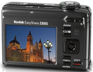 Kodak's EasyShare Z885 digital camera. Courtesy of Kodak, with modifications by Michael R. Tomkins. Click for a bigger picture!