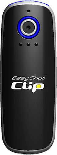 Front view of the EasyShot Clip camera, black version. Photo provided by Concord Keystone Trading LLC. Click for a bigger picture!