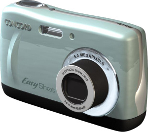 Concord's EasyShot 510z digital camera. Courtesy of Concord, with modifications by Michael R. Tomkins. Click for a bigger picture!