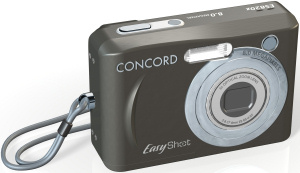 Concord's EasyShot 820z digital camera. Courtesy of Concord, with modifications by Michael R. Tomkins. Click for a bigger picture!