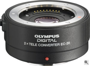 Olympus' EC-20 2x Tele Converter. Courtesy of Olympus, with modifications by Michael R. Tomkins. Click for a bigger picture!