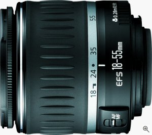 Canon's EF-S 18-55mm f/3.5-5.6 zoom lens. Courtesy of Canon, with modifications by Michael R. Tomkins. Click for a bigger picture!