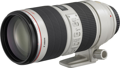 Canon's EF 70-200mm f/2.8L IS II USM lens with tripod collar attached. Photo provided by Canon. Click for a bigger picture!