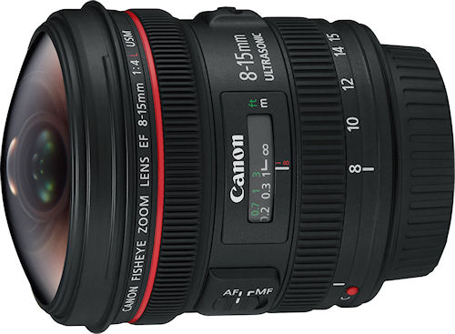 The Canon EF 8-15mm f/4L Fisheye USM lens. Photo provided by Canon USA Inc. Click for a bigger picture!