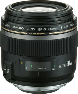 Canon's EF-S 60mm f/2.8 Macro USM lens. Courtesy of Canon, with modifications by Michael R. Tomkins. Click for a bigger picture!