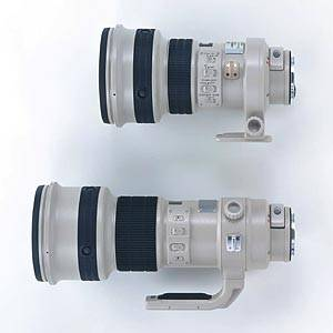 Canon's prototype 400mm f4 lens (top) and existing 400mm f4 lens (bottom). Courtesy of Canon.
