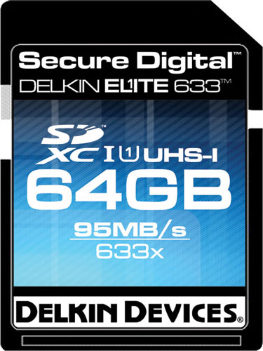 Delkin's Elite633 64GB SDXC card. Rendering provided by Delkin Devices Inc. Click for a bigger picture!