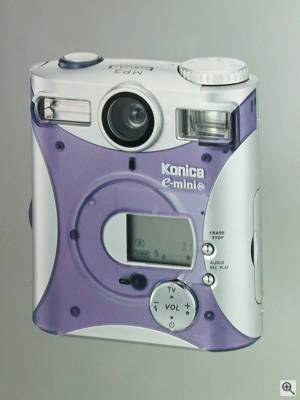 Konica's E-Mini-M digital camera, front view. Courtesy of Konica Photo Imaging Inc. Click for a bigger picture!