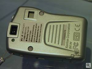 Konica's E-Mini digital camera, rear view. Copyright (c)  2001, Michael R. Tomkins. All rights reserved. Click for a bigger picture!