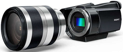 Conceptual mockup of Sony's E-mount interchangeable lens, Exmor APS camcorder. Photo provided by Sony Corp. Click for a bigger picture!