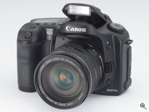 Canon's EOS-10D digital camera. Courtesy of Canon, with modifications by Michael R. Tomkins. Click for a bigger picture!
