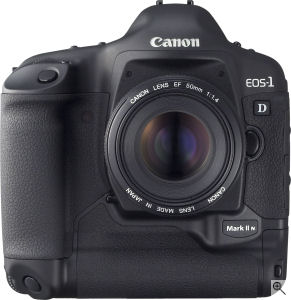 Canon's EOS-1D Mark II N digital SLR. Courtesy of Canon, with modifications by Michael R. Tomkins. Click for a bigger picture!