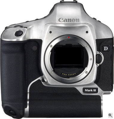 Canon's EOS-1D Mark III digital SLR. Courtesy of Canon, with modifications by Michael R. Tomkins. Click for a bigger picture!