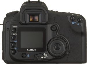 Canon's EOS-20D digital SLR. Courtesy of Canon, with modifications by Michael R. Tomkins. Click for a bigger picture!