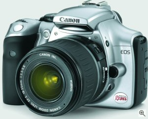Canon's EOS 300D digital SLR. Courtesy of Canon, with modifications by Michael R. Tomkins. Click for a bigger picture!