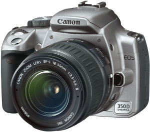Canon's EOS 350D digital SLR. Courtesy of Canon, with modifications by Michael R. Tomkins. Click for a bigger picture!