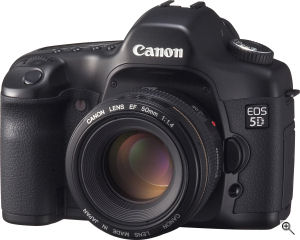 Canon's EOS 5D digital SLR. Courtesy of Canon, with modifications by Michael R. Tomkins. Click for a bigger picture!