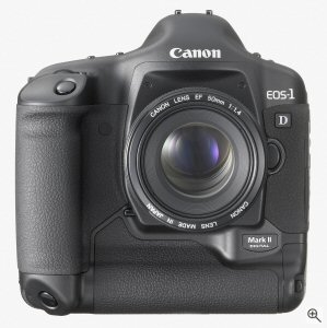 Canon's EOS-1D Mark II digital camera. Courtesy of Canon, with modifications by Michael R. Tomkins. Click for a bigger picture!