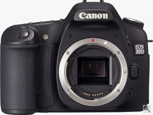 Canon's EOS 30D digital SLR. Courtesy of Canon, with modifications by Michael R. Tomkins. Click for a bigger picture!