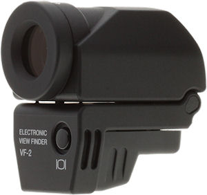 Olympus' VF-2 external shoe-mount EVF. Copyright © 2009, Imaging Resource. All rights reserved.