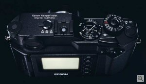 Epson's R-D1 rangefinder digital camera. Courtesy of Epson, with modifications by Michael R. Tomkins. Click for a bigger picture!