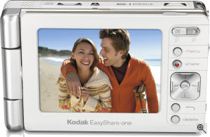 Kodak's EasyShare-One / 6 MP digital camera. Courtesy of Kodak, with modifications by Michael R. Tomkins. Click for a bigger picture!