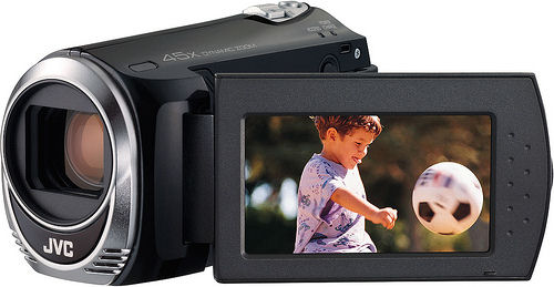 JVC's EverioMemory GZ-MS110 camcorder. Photo provided by JVC Americas Corp.