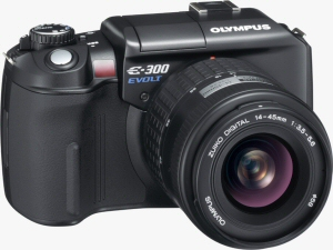 Olympus' EVOLT E-300 digital SLR. Courtesy of Olympus, with modifications by Michael R. Tomkins. Click for a bigger picture!