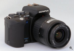 Olympus' EVOLT E-500 digital SLR. Copyright (c) 2005, The Imaging Resource. All rights reserved. Click for a bigger picture!
