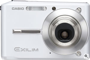 Casio's EXILIM CARD EX-S500 digital camera. Courtesy of Casio, with modifications by Michael R. Tomkins. Click for a bigger picture!