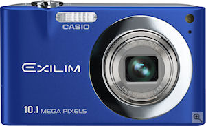 Casio's EXILIM Zoom EX-Z100 digital camera. Courtesy of Casio, with modifications by Michael R. Tomkins. Click for a bigger picture!