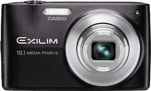 Casio's EXILIM Zoom EX-Z300 digital camera. Courtesy of Casio, with modifications by Michael R. Tomkins. Click for a bigger picture!