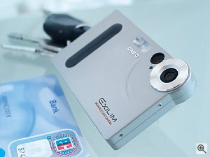 Casio's Exilim EX-S1 digital camera. Courtesy of Casio, with modifications by Michael R. Tomkins.