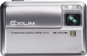 Casio's EXILIM EX-V7 digital camera. Courtesy of Casio, with modifications by Michael R. Tomkins. Click for a bigger picture!