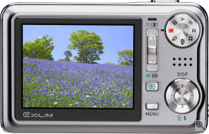 Casio's EXILIM Hi-Zoom EX-V8 digital camera. Courtesy of Casio, with modifications by Michael R. Tomkins. Click for a bigger picture!