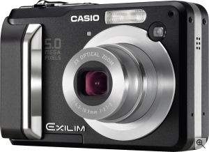 Casio's EXILIM EX-Z10 digital camera. Courtesy of Casio, with modifications by Michael R. Tomkins. Click for a bigger picture!