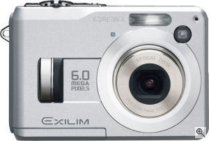 Casio's EXILIM EX-Z110 digital camera. Courtesy of Casio, with modifications by Michael R. Tomkins. Click for a bigger picture!