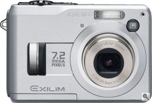 Casio's EXILIM EX-Z120 digital camera. Courtesy of Casio, with modifications by Michael R. Tomkins. Click for a bigger picture!