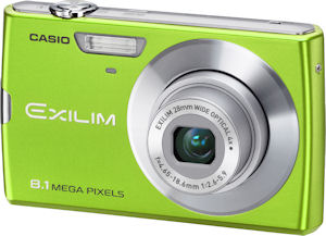 Casio's EXILIM Zoom EX-Z150 digital camera. Courtesy of Casio, with modifications by Michael R. Tomkins. Click for a bigger picture!